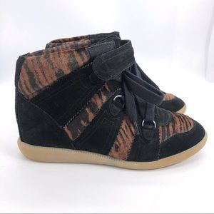 Isabel Marant Pony Hair Blossom Wedge Sneaker NWOT
